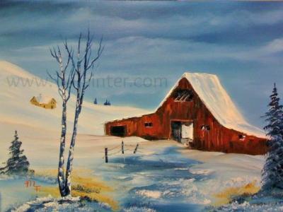 winter's-red-barn-art-lessons
